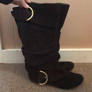 Naughty Monkey Suede Buckle Boots